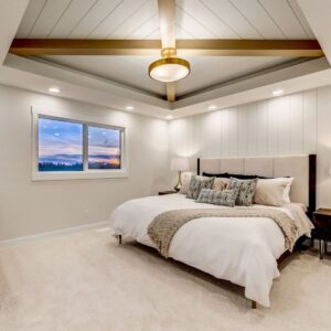 Bedroom with feature ceiling